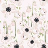 Hellebore anemone Christmas winter rose floral seamless pattern texture. Pink black flowers with green leaves foliage on white nav. Y blue background. Botanical vector illustration