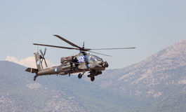 Hellenic Army AH-64A Apache attack helicopter in flight. During the Athens Flying Week show Stock Photos