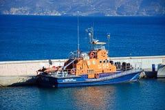 Hellenic coastguard boat, Agios Nikoloas. Hellenic coastguard boat moored in the harbour, Agios Nikolaos, Crete, Greece, Europe Royalty Free Stock Photos