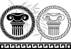 Hellenic columns and olive branch Stock Images