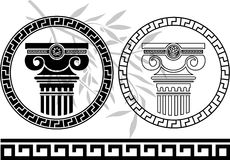 Hellenic columns and olive branch Stock Photos
