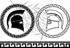 Hellenic helmets and olive branch Royalty Free Stock Image