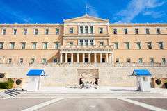 The Hellenic Parliament building. On Syntagma Square in Athens, Greece Royalty Free Stock Photo