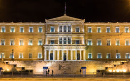 Hellenic Parliament at night - Athens Stock Photo