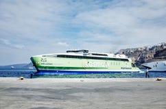 Hellenic Seaways at Athinios Port, SANTORINI. SANTORINI, GREECE - OCTOBER 5, 2014 : Hellenic Seaways at Athinios Port Stock Photo