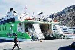 Hellenic Seaways at Athinios Port, SANTORINI Stock Images