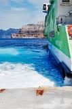 Hellenic Seaways at Athinios Port, SANTORINI. SANTORINI, GREECE - OCTOBER 5, 2014 : Hellenic Seaways at Athinios Port Royalty Free Stock Photos