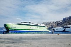 Hellenic Seaways at Athinios Port, SANTORINI. SANTORINI, GREECE - OCTOBER 5, 2014 : Hellenic Seaways at Athinios Port Royalty Free Stock Photo