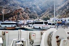Hellenic Seaways at Athinios Port, SANTORINI. SANTORINI, GREECE - OCTOBER 5, 2014 : Hellenic Seaways at Athinios Port Stock Photography