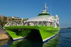 Hellenic Seaways catamaran ferry, Alonissos, Greece. Hellenic Seaways catamaran ferry ''Flying cat 5'' at Patitiri harbour on Alonissos island, member of royalty free stock photos