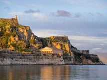 Hellenic temple and old castle at Corfu. Island Royalty Free Stock Photography