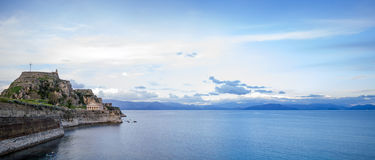 Hellenic temple and old castle at Corfu. Island Stock Image