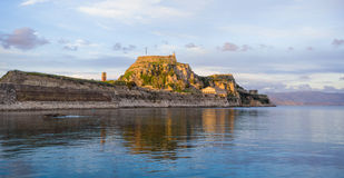 Hellenic temple and old castle at Corfu. Island Royalty Free Stock Image