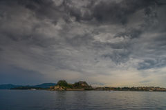 Hellenic temple and old castle at Corfu island. Greece Royalty Free Stock Image
