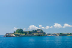Hellenic temple and old castle at Corfu island. Greece Stock Photography