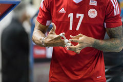 Hellenic Volleyball League game Paok vs Olympiacos Royalty Free Stock Photography