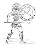 Hellenic warrior. Vintage illustration of a Hellenic Warrior. Originally published in swedish book Historisk lasebok published in 1882. The image is currently in royalty free illustration