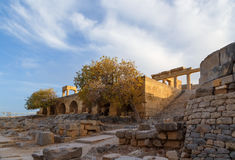 Hellenistic stoa on Acropolis of Lindos, Rhodes Island, Greece. Hellenistic stoa on the Acropolis of Lindos, Rhodes Island, Greece Royalty Free Stock Photo