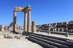 Hellenistic stoa och trappuppgång Arkivbilder