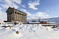 Hellenistic Temple at Garni, Armenia. Hellenistic Temple at Garni in the winter, Armenia Royalty Free Stock Photo