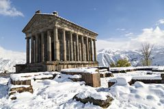 Hellenistic Temple at Garni, Armenia. Hellenistic Temple at Garni in the winter, Armenia Royalty Free Stock Photography