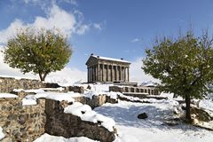 Hellenistic Temple at Garni, Armenia. Hellenistic Temple at Garni in the winter, Armenia Stock Photos