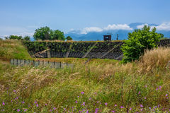 Hellenistic theater in ancient Dion, Greece Stock Images