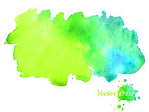 Heller Aquarellfleck Blaue und grüne Hand gezeichneter Hintergrund Vector Schablone für Auslegung Lizenzfreies Stockbild