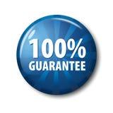 Heller blauer Knopf mit Wörter ` 100% Garantie ` Lizenzfreies Stockfoto