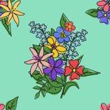 Heller Blumenstrauß von Blumen auf einem grünen Hintergrundmuster Lizenzfreie Stockbilder