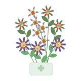 Heller bunter Blumenstrauß einer Blume gemacht von der Medizin von tabletes und von Pillen stock abbildung
