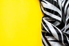 Heller eleganter transparenter Gasschal mit Schwarzweiss-Streifen mit einem Schwarzfarbhintergrund Draufsicht der Zebraverzierung Stockfotos