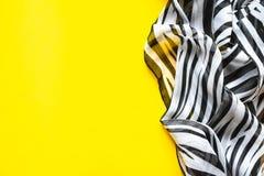 Heller eleganter transparenter Gasschal mit Schwarzweiss-Streifen mit einem Schwarzfarbhintergrund Draufsicht der Zebraverzierung Lizenzfreie Stockfotos