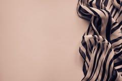 Heller eleganter transparenter Gasschal mit Schwarzweiss-Streifen mit einem Schwarzfarbhintergrund Draufsicht der Zebraverzierung Lizenzfreie Stockfotografie