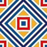 Heller ethnischer abstrakter Hintergrund Nahtloses Muster mit symmetrischer geometrischer Verzierung Stockbilder