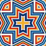 Heller ethnischer abstrakter Hintergrund Nahtloses Muster mit symmetrischer geometrischer Verzierung Stockfotografie