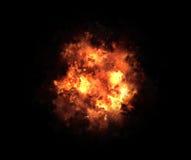 Heller Explosionsblitz auf schwarze Hintergründe. Feuerstoß Lizenzfreies Stockfoto