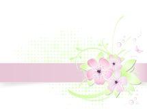 Heller Frühlingsblumenhintergrund mit Fahne Lizenzfreie Stockbilder