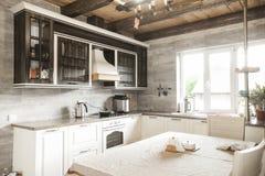 Heller gefüllter Küchenentwurf, natürliche braune Kabinette überstiegen mit Granit Countertops stockfotos