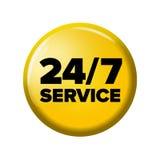 Heller gelber runder Knopf mit Wörter ` 24/7 Service ` Stockfotos