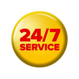 Heller gelber runder Knopf mit Wörter ` 24/7 Service ` Lizenzfreie Stockfotografie