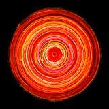 Heller glühender Kreis auf schwarzem Hintergrund Stockfoto