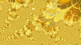 Heller goldener gelber Sommer Fractal mit Effekt von Schmetterlingen und von Blumen Stockfoto