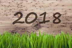 Heller hölzerner Hintergrund, Gras, Text 2018 Lizenzfreie Stockfotos