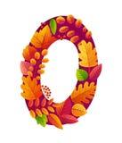 Heller Herbstlaub in der nullzahlform, Vektorsymbol lokalisiert auf weißem Hintergrund vektor abbildung