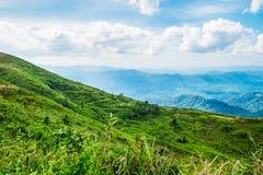 Heller Himmel der grünen Bergspitze Lizenzfreie Stockbilder