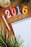 Heller Hintergrund über guten Rutsch ins Neue Jahr 2016 Lizenzfreies Stockfoto