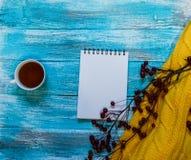 Heller Hintergrund mit blaue, blaue gemalt Farbenbretter, eine Tasse Tee, eine Niederlassung mit Äpfeln und Strickjacke mit Kopie Lizenzfreies Stockbild