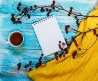 Heller Hintergrund mit blaue, blaue gemalt Farbenbretter, eine Tasse Tee, eine Niederlassung mit Äpfeln und Strickjacke mit Kopie Stockfotos