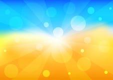 Heller Hintergrund mit dem blauen Himmel und der gelben Sonne Bunte Illustration des Sommers paradies Stockfotografie
